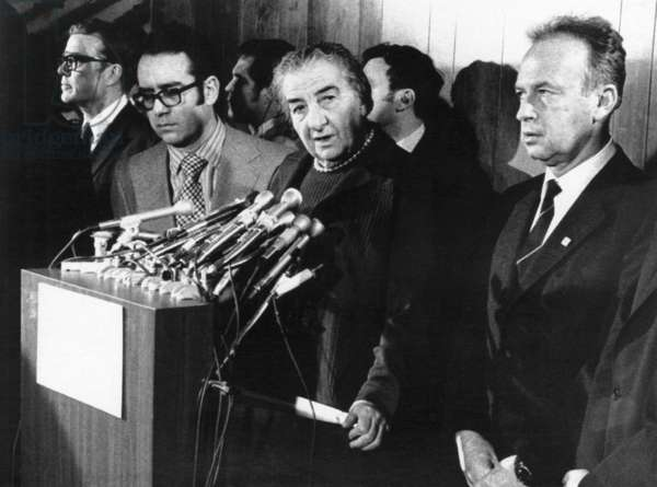 Israeli Prime Minister Golda Meir, in Washington for talks with President Richard Nixon, tells a press conference at Dulles Airport that it is 'high time things begin moving seriously' toward peace in the Middle East. Right: Israeli ambassador Yitzhak Rabin, February 27, 1973