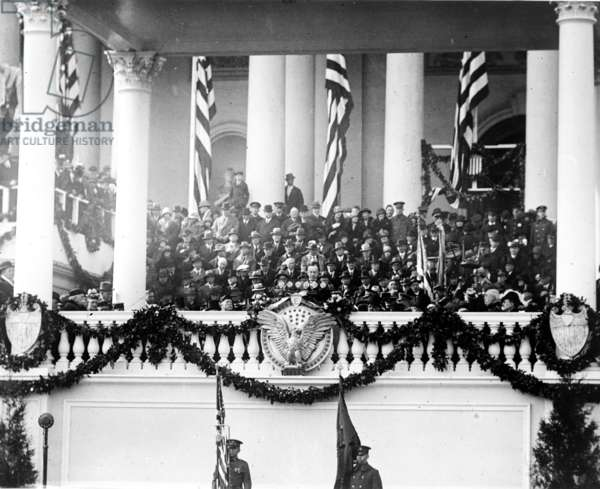 President Calvin Coolidge (1872-33) delivering his inaugural address on March 4, 1925