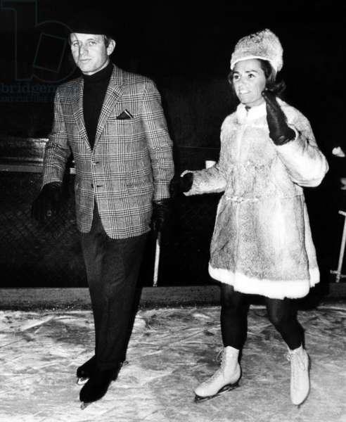 Senator Robert F. Kennedy and Ethel Kennedy at Rockefeller Center ice skating rink, New York, January 24, 1968.