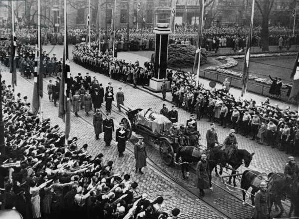 Funeral of Ernst vom Rath (1909-1938), a German diplomat assassinated in Paris in 1938 by a 17 year old exiled Jew, Herschel Grynszpan. The assassination triggered the violent attack on German Jews called 'Kristallnacht', the Night of Broken Glass