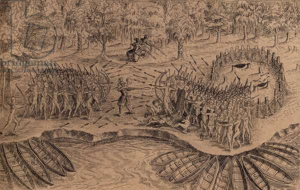 DEFEAT OF THE IROQUOIS AT LAKE CHAMPLAIN. 1613 engraving after a drawing by Samuel de Champlain shows Champlain leading his Indian allies, Algonquians, Hurons, and Montagnais, in battle, on July 29, 1609. The Iroquois, (on right) against defended a fenced fort, but were defeated with the help of three Frenchmen with harquebuses. The depiction is somewhat symbolic in that the Iroquois force was larger, with around 200 warriors