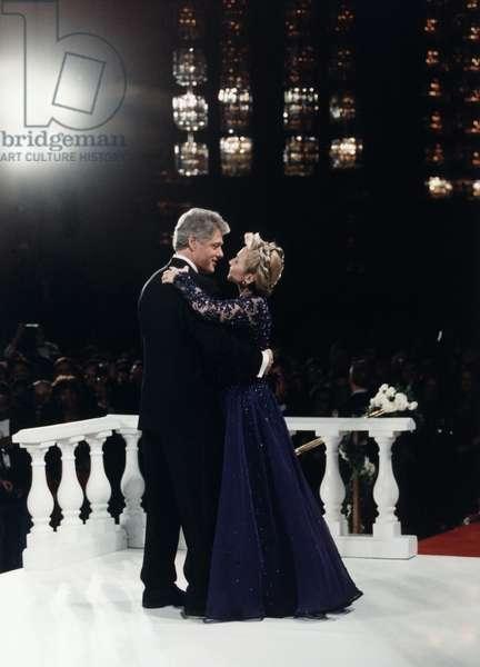 President Bill Clinton and Hillary Rodham Clinton, dancing at an 1993 inaugural ball