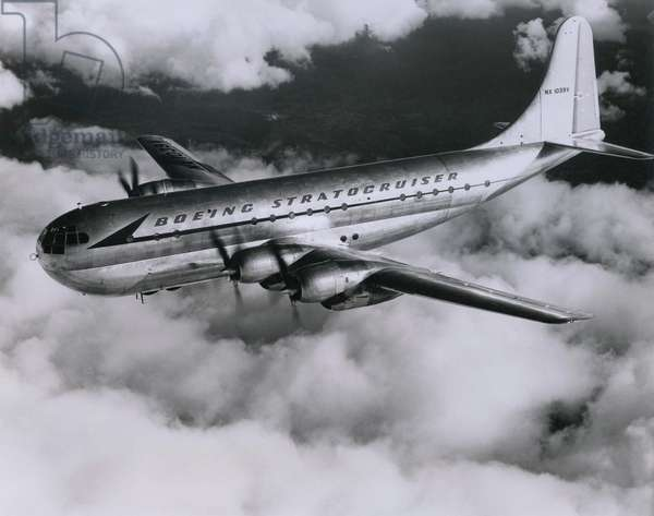 Boeing 377 Stratocruiser was a long-range propeller driven luxury airline in service between 1947 and 1963. It had double-decker seating and carried over 100 seated passengers or 28 sleeping passengers in berths