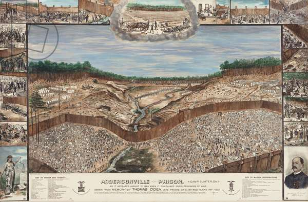 Thomas O'Dea's drawing of the Andersonville Prison was created from memory in 1884. In the center is a aerial overview of military prison surrounded by his eye witness marginal drawings of incidents he experienced at Andersonville. At the bottom is a numbered legend to the 19 small drawings. There is also a legend for numbered details within the larger scene (lithograph)