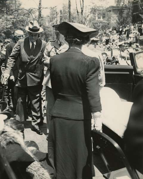 Franklin Roosevelt walks with assistance in Staunton, Virginia. May 4, 1941. FDR was at the dedication ceremony for the Home of Woodrow Wilson. News photographers did not take photos of FDR walking, but this photo was taken by FDR friend, Margaret Suckley