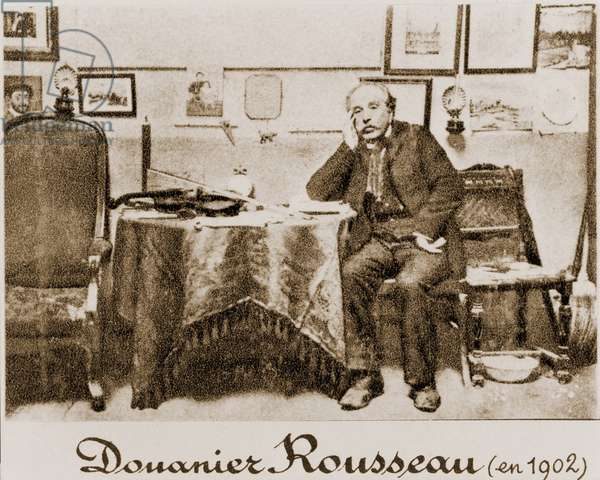 Henri Rousseau (1844-1910), also known as le Douanier, (The Customs Officer) because he made his living in the French bureaucracy. He found time to create naive paintings admired by the Paris avant-garde, including Matisse. 1902