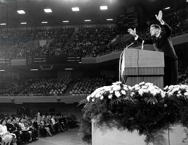 Billy Graham, Evangelist preaching in Nippon Budokan Hall, Tokyo, Japan, 10/25/67