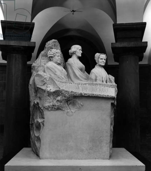 Portrait Monument to Lucretia Mott, Elizabeth Cady Stanton, and Susan B. Anthony, marble sculpture by Adelaide Johnson, 1920