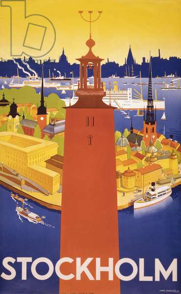 Swedish travel poster shows Stockholm's city hall and a bird's eye view of the harbor with ocean liners. 1936