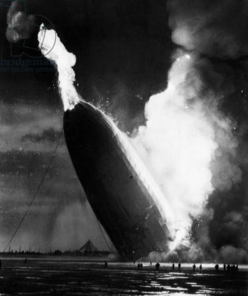 The LZ 129 Hindenburg, crashing into flames, Lakehurst, New Jersey, May 6, 1936