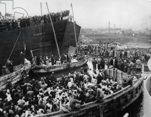 Korean War: Korean refugees escaping from Hungnam, Korea, December, 1950.