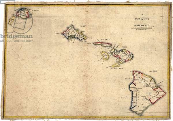 Hawaii. Map of the Hawaiian islands, 1837