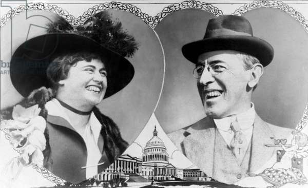 Sweethearts. President Woodrow Wilson and future First Lady Edith Bolling Galt ina presidential valentine prior to their marriage, 1915