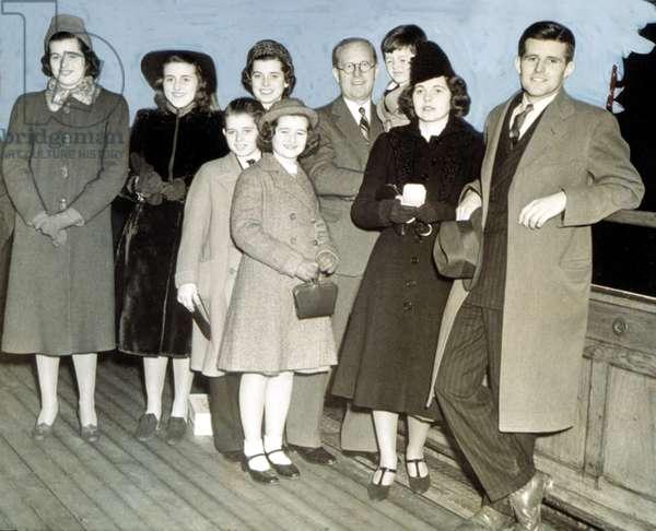 Kennedys on boat to England;Patricia, Kathleen, Eunice, Robert Jean, Joe, Ted, Rosemary, Joe Jr.1938
