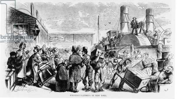European immigrants arriving at New York City's Castle Garden, America's first official immigration center in 1858. From 1855, until it was replaced by Ellis Island in 1890, Castle Garden sheltered newly arrived immigrants from exploitation and quarantined sick immigrants