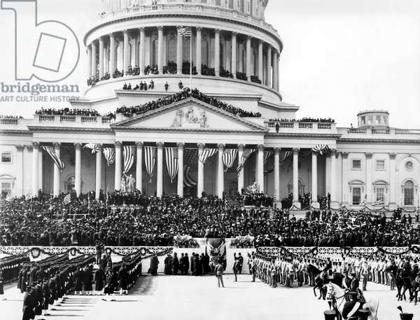 The capitol building in Washington D.C., on the day that Theodore Roosevelt took the oath of office as President of the United States, March 4, 1905.
