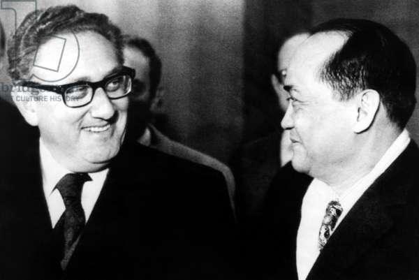 Henry Kissinger, South Vietnamese Ambassador Pham Dang Lam, Orly Airport, Paris, France, December 3, 1972.