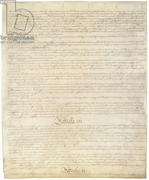 Constitution of the United States of Americ. Third of four pages of the National Archives copy created in the Constitutional Convention in 1787