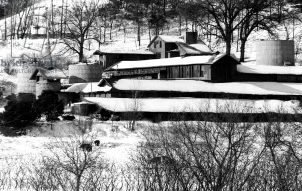 The self-designed home of architect Frank Lloyd Wright located near Spring Green, Wisconsin, 1967.