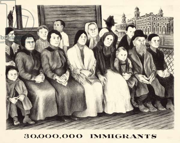 Immigrants. shows a group of Immigrants either waiting at an immigration station or enroute to New York City from Ellis Island; the Statue of Liberty is visible in the background. Lithograph by Bernarda Bryson, c. 1930s