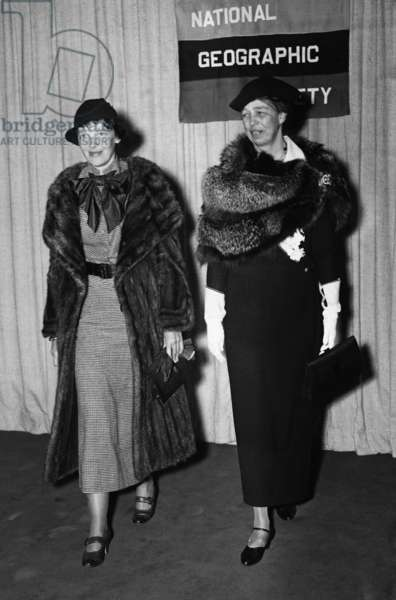 Eleanor Roosevelt and Amelia Earhart at the National Geographic Society where Earhart spoke, 1935