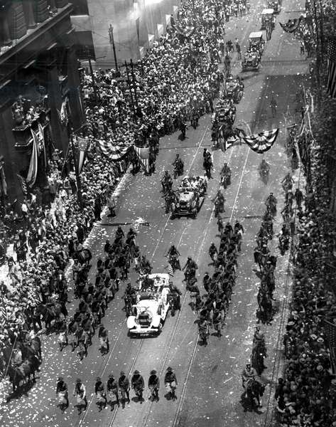 A ticker-tape parade for Charles Lindbergh in New York after his trans-Atlantic flight in 1927.