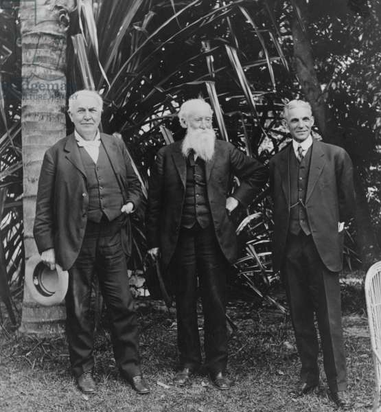 Thomas Edison (1847-1931), John Burroughs (1837-1921), and Henry Ford (1863-1947) in 1914 at Edison's home in Ft. Myers, Florida