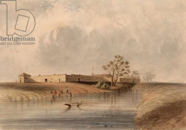 Sutter's Fort, near Sacramento City, California, 1852, by Harrison Eastman. The fort housed an agricultural and trade association built in 1841 by John Sutter. On January 24, 1848, James Marshall found gold during the construction of Sutter's nearby sawmill (watercolour)
