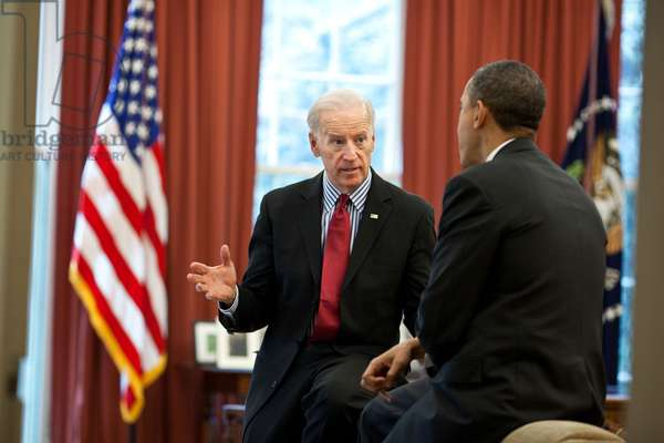 President Barack Obama meets with VP Joe Biden to discuss the ongoing budget negotiations. April 8, 2011