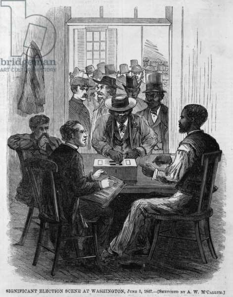 Significant election scene at Washington. Black and white men observe while other blacks and whites prepare to place ballots into box. June 3, 1867
