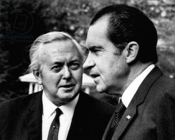 Nixon Presidency. Former British Prime Minister Harold Wilson and US President Richard Nixon at the White House, Washington, D.C., April 1971