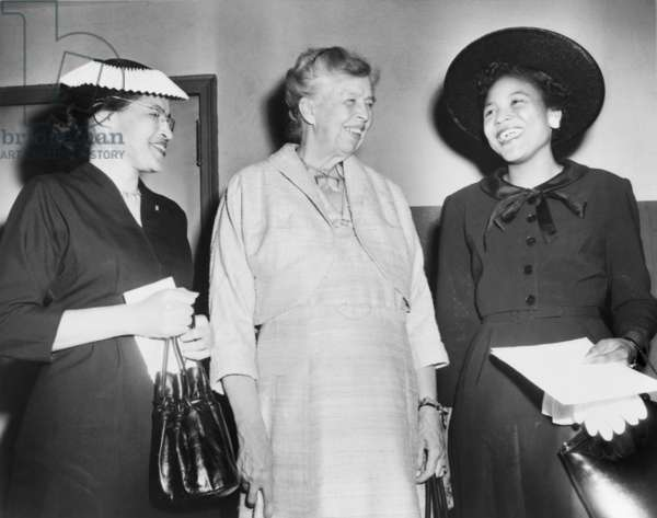 Eleanor Roosevelt, with two African American civil rights activists, Autherine Lucy, first black student to attend the University of Alabama, and Rosa Parks (left). They were attending a civil rights rally at Madison Square Garden, New York City in 1956