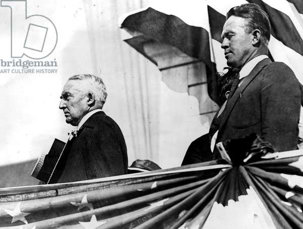 PRESIDENT WARREN G. HARDING speaking at stadium in Seattle, c. 1923