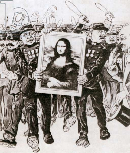 Cartoon of police guarding the Mona Lisa as the painting returns to France. More than two years after its theft by Vincenzo Peruggia, Leonardo painting was recovered and returned to the Louvre, in Paris. 1913