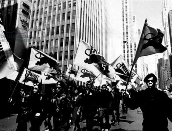 NEW YORK: Black Panther Party march along 42nd Street en route to a scheduled news conference at United Nations Plaza. The conference was called to protest the murder trial of Black Panther defense minister Huey Newton in Oakland, Calif. 7/22/68.