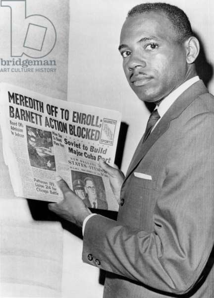 James Meredith after attempt to enroll at the University of Mississippi is blocked by Mississippi Governor Barnett, New Orleans, LA, September 25, 1962.