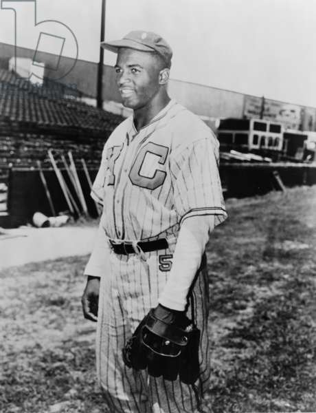 Jackie Robinson (1919-1972) in Kansas City Monarchs uniform in 1945. In 1947 Robinson became the first African America to play on Major League Baseball team