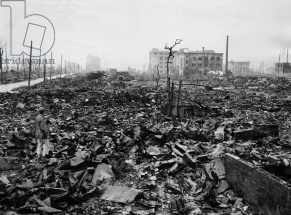 Destruction of tin and rubble in Hiroshima as a result of the first atomic bomb. ca 1945.