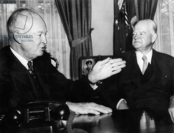 President Dwight D. Eisenhower, and Former President Herbert Hoover, at the White House to discuss Hoover Commission recommendations, the White House, Washington DC, May 17, 1957