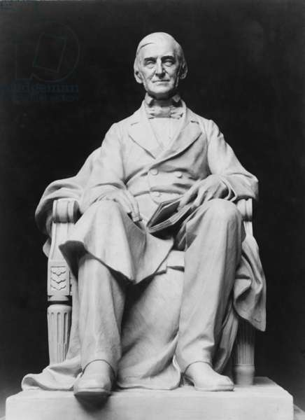 Ralph Waldo Emerson (1803-82) depicted in a portrait sculpture (c. 1905) by Frank Duveneck (1848-1919)