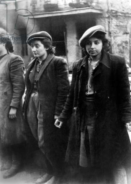 'Hehalutz women captured with weapons' during the Warsaw Ghetto Uprising, April 19-May 16, 1943. Hehalutz was a Zionist pioneer organization. Photo from the World War 2 report of SS officer Jurgen Stroop to Heinrich Himmler
