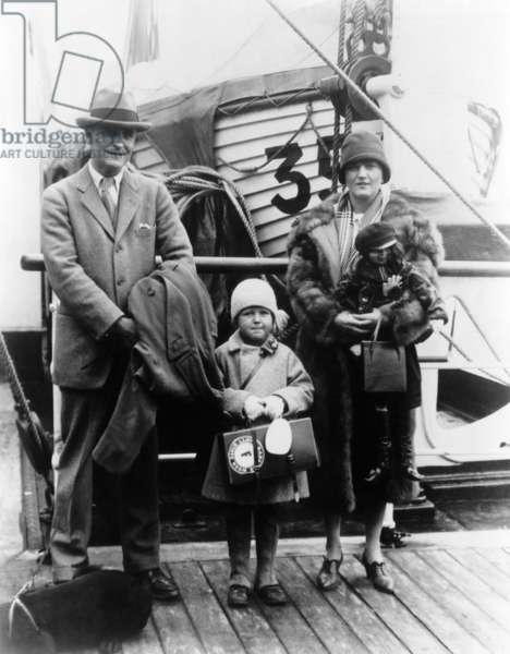 F. Scott Fitzgerald, his wife Zelda and their daughter Francis Scott ('Scottie'), c.1920s