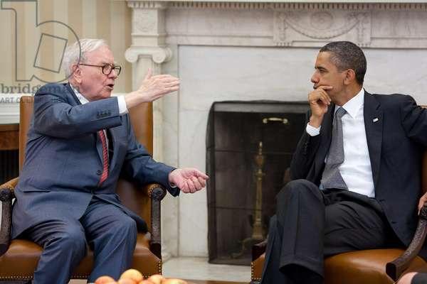 Warren Buffett et Barack Obama: President Barack Obama meets with Warren Buffett, the Chairman of Berkshire Hathaway, in the Oval Office, July 18, 2011