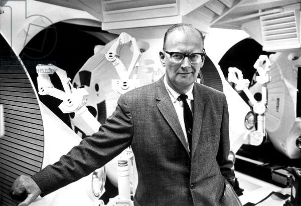 Author ARTHUR C. CLARKE visits the set of 2001: A SPACE ODYSSEY, 1968