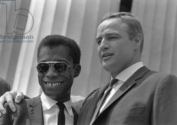 Author James Baldwin and actor Marlon Brando at the 1963 Civil Rights March on Washington. Aug. 28, 1963
