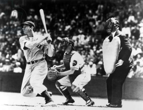 Joe DiMaggio hitting safely in the 56th and last game in his record setting streak, 1941
