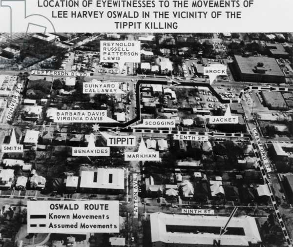 Warren Commission exhibit. Photograph of Dallas records the location of eyewitnesses to the movements of JFK assassin Lee Harvey Oswald in the vicinity of the killing of policeman J.D. Tippit. Nov. 22, 1963