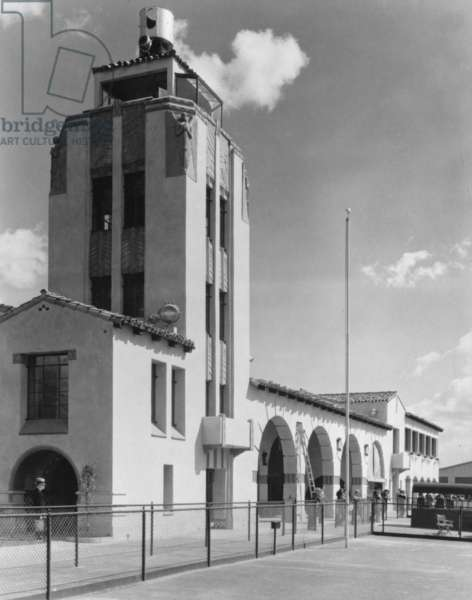 Grand Central Air Terminal, designed by Henry L. Gogerty in 1928, combines Spanish Colonial Revival style with Art Deco Moderne design. The first planes to bear the names of Jack Northrop and Howard Hughes were built at Grand Central Air Terminal. Photograph c.1936, 1310 Air Way, Glendale, Los Angeles, California