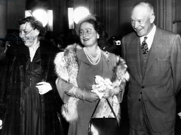 Mamie Eisenhower, Queen Mother Elizabeth, and President Dwight D. Eisenhower on the steps of the White House after a royal visit. November 4, 1954