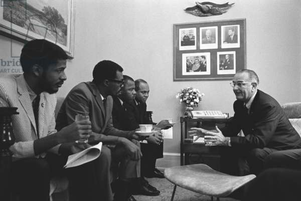 President Lyndon Johnson meeting with Civil Rights activists on the day he signed the 1965 Voting Rights Act. Seated on couch is future Georgia Representative, John Lewis (third from left, next to James Farmer) a protest leader in the Selma, Alabama voting rights campaign in January-March 1965. August 6, 1965